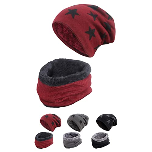 STYLE SLICE Winter Hats Fleece Lined Hat and Scarf Sets for Women Men  Unisex Star Print 5f40805e9f60