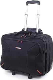 """Alpine Swiss Rolling Briefcase on Wheels Roller 17"""" Laptop Case W Tablet Sleeve"""