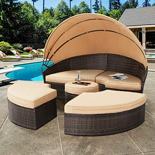 SOLAURA Outdoor Round Daybed, Patio Daybed with Retractable Canopy and Brown Wicker, Seating Separates Cushioned Seats (4 Light Brown Pillow)