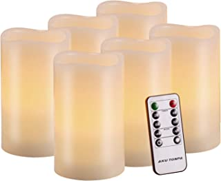 """Flameless Candles Battery Operated Pillar Real Wax Flickering Electric LED Candle Gift Sets with Remote Control Cycling 24 Hours Timer by Aku Tonpa, 3""""x5"""" Pack of 6"""