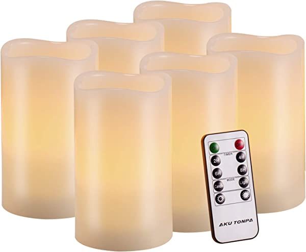 Flameless Candles Battery Operated Pillar Real Wax Flickering Electric LED Candle Gift Sets With Remote Control Cycling 24 Hours Timer By Aku Tonpa 3 X5 Pack Of 6