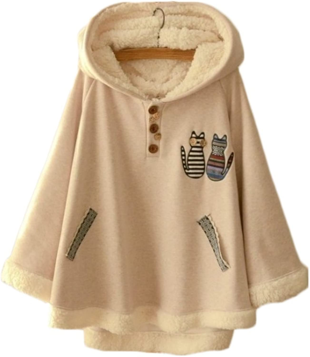 Aza Boutique Cute Style Animal Print Double Cat Embroidery Fleece Hooded Cape