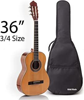 Classical Guitar with Soft Nylon Strings by Hola! Music, Junior 3/4 Size 36 Inch Model HG-36GLS, Natural Gloss Finish - FREE Padded Gig Bag Included
