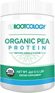 Organic Vanilla Pea Protein Powder - Rootcology USDA Certified Organic Pea Protein with 20g Plant Protein by Izabella Wentz (450g / 15 Servings)