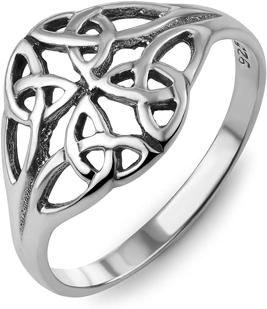 今季も再入荷 925 Oxidized Sterling Silver Woven 一部予約 Celtic Ba Knot Trinity Design