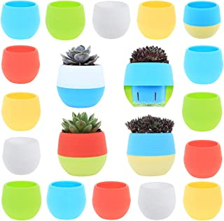 DeElf 15 Colorful Succulent Planter Pots with Water Holders Size 3 Inch for Small Cactus Home Office Kitchen and Living Room Decoration