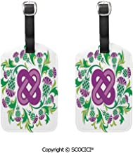 Privacy Luggage Tags for Travel Bag Suitcase,Celtic,Eternal Life Symbol Celtic Motif Surrounded with Thistle Flower and Leaves Image,Purple Green