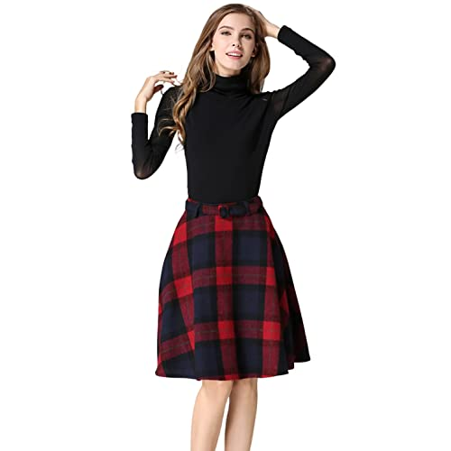 3ef13239658bca Tanming Women's Casual High Waisted Wool Check Print Plaid A-Line Skirt