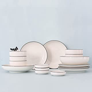 Minimalist Scandinavian Style Dish Set Household Cutlery, European Bowl Dishes White Porcelain Ceramics