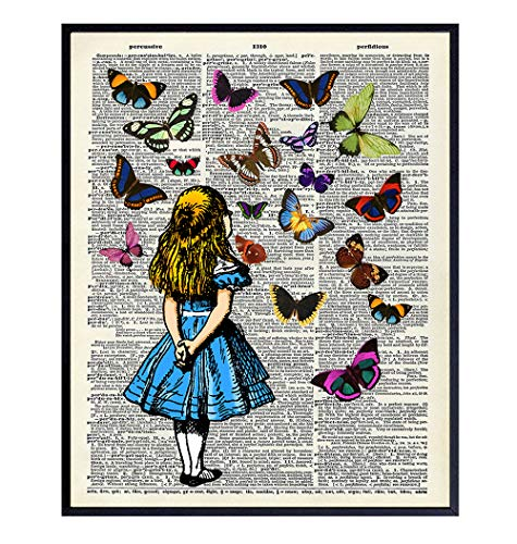 Alice in Wonderland Upcycled Dictionary Wall Art - Vintage Style Art Poster and Great Gift or Home Decor for Kids or Girls Room, Nursery, Baby Room - 8x10 Unframed Print