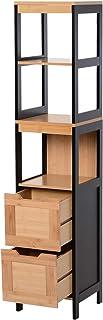 kleankin Mueble Auxiliar para Almacenaje de Baño Armario Alto para Baño con Estantes y Cajones 30x30x144.3 cm