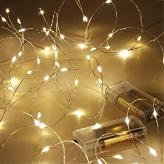 Fairy Lights Battery Operated, Warm White 16.5Ft 50 LED Battery Powered Fairy Light, SINAMER 2 Pack Waterproof Copper Wire...
