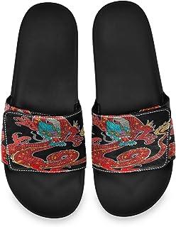 Dragon Sticker Black Background Men's Summer Sandals Slide House Adjustable Slippers Beach Boys