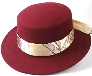 2019 Mens Womens Hats Unisex Men Women Flat Top Hat Pop Church Soft Autumn Winter Flat Top Hat Panama Hat Outdoor Travel Casual Hat Jazz Fedora Hat Size 56-58CM (Color : Wine red, Size : 56-58)