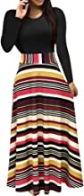 TheRang Women's Long Sleeve Crew Neck Floral Print Patchwork Long Maxi Loose Dress