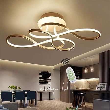 Plafonnier LED Dimmable avec restaurant courbé lampe de plafond Télécommande moderne Lustre en acrylique Plafond en métal pour Spotlights Salon Chambre Salle de bains Cottage Lampes,D'or,74 * 37cm