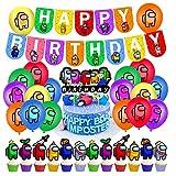 smileh Cumpleaños Decoracion de Among Us Globos Pancarta de Feliz Cumpleaños Adornos para Pastel de Juegos para niños adultos Decoraciones de Fiesta