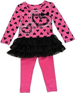 Flapdoodles 2-piece Girls Heart & Mesh Dress and Legging Set