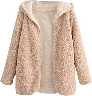 c351f6263da BeautyGal Women s Reversible Open Front Coat Lamb Wool Hooded Cardigan  Jacket Teddy Coats