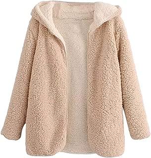 ZAFUL Womens Open Front Hooded Lamb Wool Coat Double Side Cardigan Jacket
