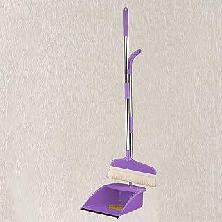 Czlsd 室内用ゴム製ほうきと クリーニングほうきコンビネーション 直立 ほうきセット(色:パープル)