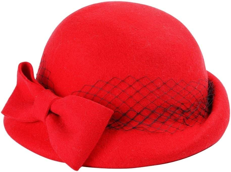 ZWJ-berets Berets Woman Solid Color Bowknot Autumn and Winter Keep Warm Small Top Hat Shopping Beanie Hat (Color : Red)