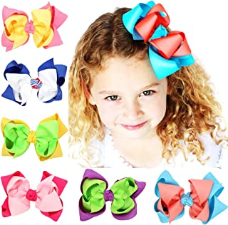 Large Hair Bows Alligator Clips Barrettes Grosgrain Ribbons for Girls Teens Toddlers 6 pcs by JIAHANG
