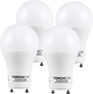 TORCHSTAR GU24 Base A19 LED Light Bulb, 9W (60W Equiv), Energy Star & UL-Listed, Dimmable, 5000K Daylight, 840 Lumens, 310°, Replacing CFL Ceiling Light for Home, 3 Years Warranty, Pack of 4