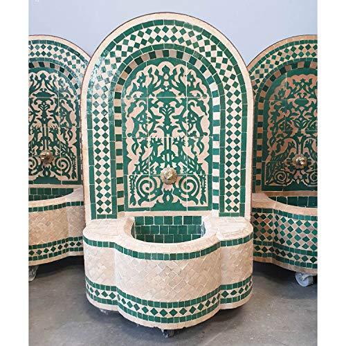Casa Moro Marokkanischer Mosaikbrunnen Gartenbrunnen Asfor Grün Terracotta 75x44cm (HöhexBreite) inklusive Pumpe & Transporträder Mosaik Brunnen für Garten Balkon Terrasse Zimmer BR3007