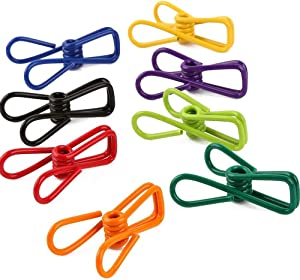 Bag Clips, Office, Clothesline, Utility Clips, Vinyl Coated Steel Wire Clips, Pack of 30 Multi-Purpose