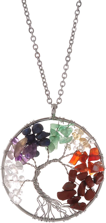 Free shipping HLmjever 7 Chakras Gemstone Pendant Qua Natural Crystals Superior Healing