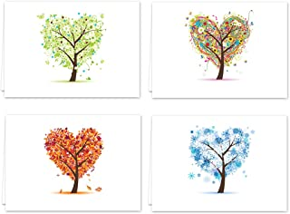 Seasons of Life Note Card Assortment Pack - Set of 24 cards - 4 designs blank inside - with white envelopes (54043)