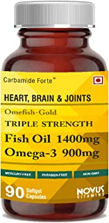 Carbamide Forte Omega 3 Fish Oil 1400mg capsule Triple Strength with EPA 495mg + DHA 330mg – Total Omega3 900mg Fish Oil Supplement – 90 Softgel Capsules