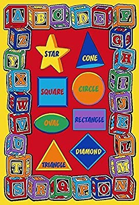 Pro Rugs Kids Area Rug ABC Shapes Learning Carpet