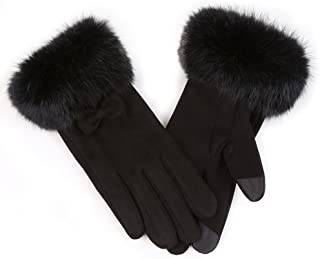 Womens Winter Chamois Leather Gloves with Fluffy Rabbit Fur Cuff Splicing Fleece Lining Thermal Screen Touch Gloves