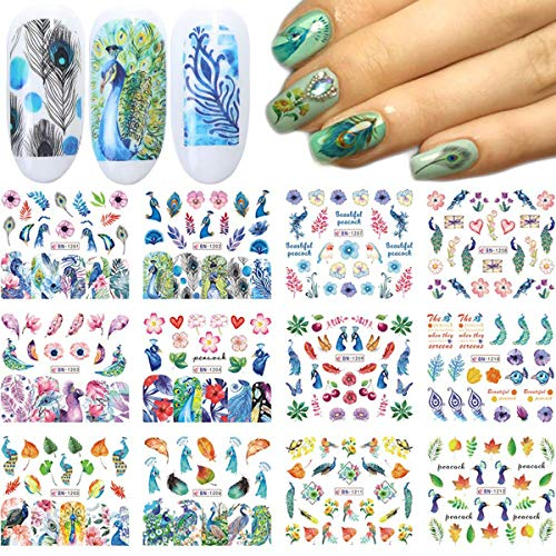 Nail Art Stickers Water Transfer Nail Decals 12 Sheets Peacock Feather Leaf Flower Nail Stickers Nail Art Supplies Nail Decals Nail Art Accessories Summer Nails Design Kit Sticker for Acrylic Nail Decorations