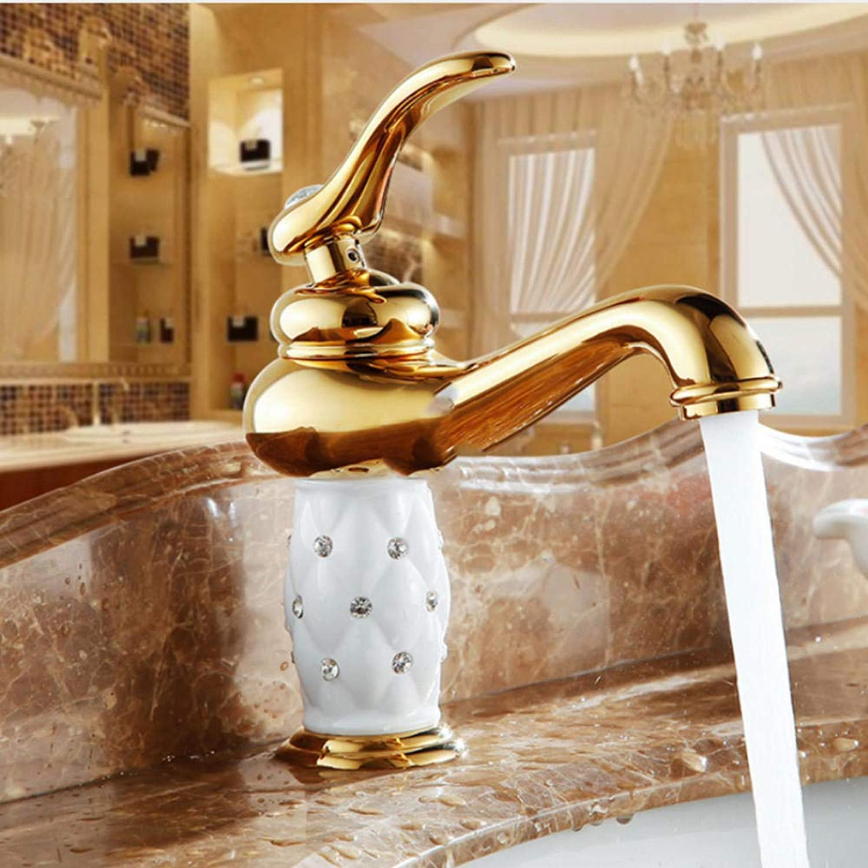 Gorheh Waschtischarmaturen Messing Mit Diamant Bad Wasserhahn Gold Mischbatterie Einhand Hot & Cold Waschtischarmatur
