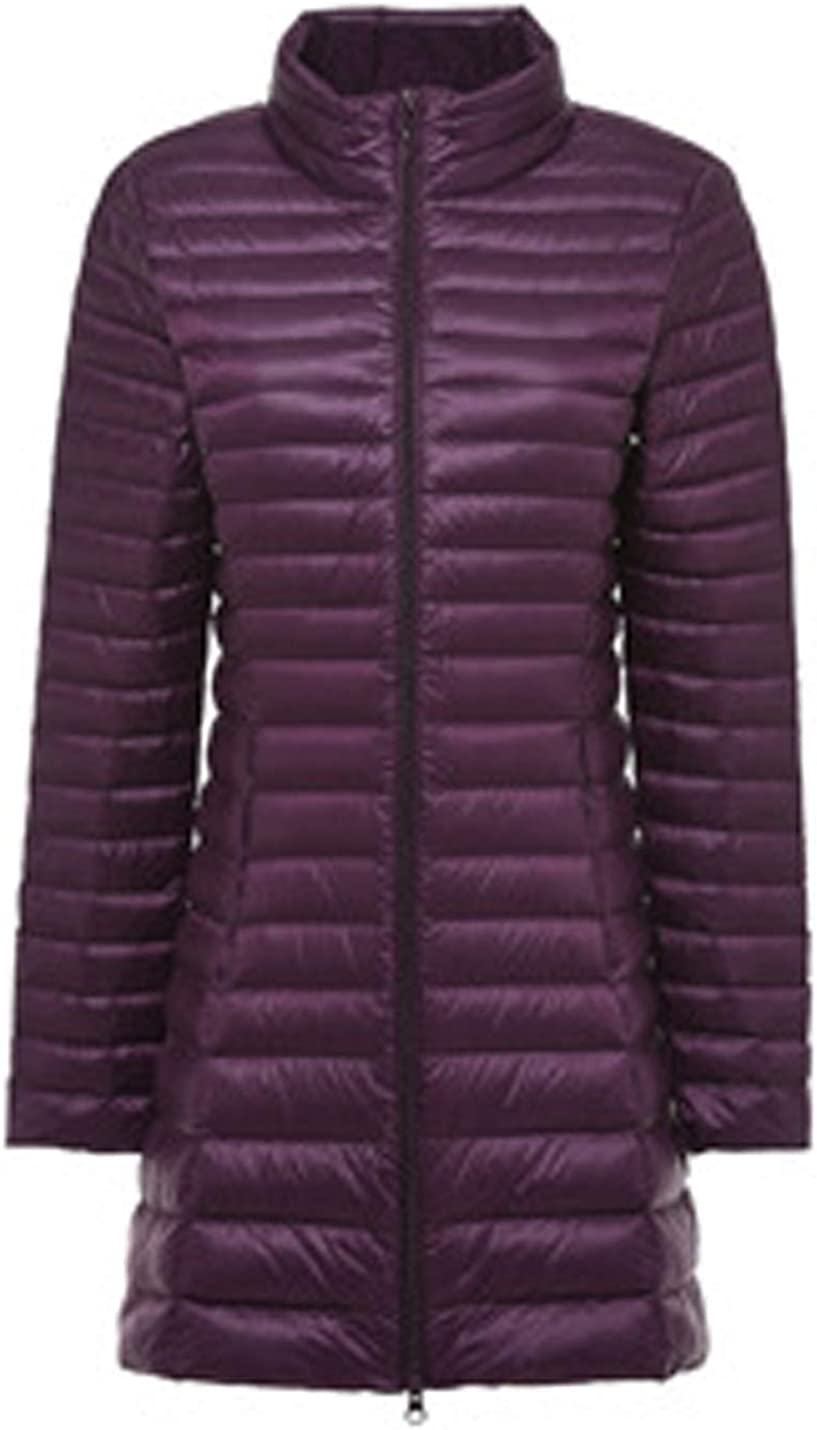 Uaneo Women's Slim Mid Long Zipper Stand Collar Quilted Puffer Down Jackets(Purple-XS)