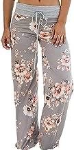 Raroauf Women's Comfy Pajama Pants Floral Print Drawstring Palazzo Wide Leg Lounge Pants