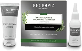 REGROWZ Men's 100% Natural Topical Hair Restoration Treatment for Regrowth, Hair Loss, Thinning, DHT Blocker Clinically Pr...