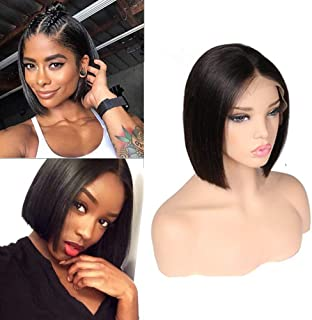 ITODAY Bob Wig Human Hair Wigs For Black Women Short Lace Front Wigs Brazilian Straight Wig Remy Hair 180% Density Natural Hairline with Baby Hair Glueless Wigs Natural Color (8, Natural)