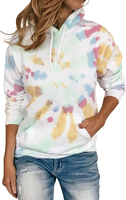 BLENCOT Women's Casual Hoodie Tie Dye Sweatshirt Hooded Long Sleeve Color Block Pullover Top With Pockets(S-2XL)
