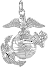 Sterling Silver Eagle Globe & Anchor U.S. Marines EGA Pendant, 1 1/8 inch tall