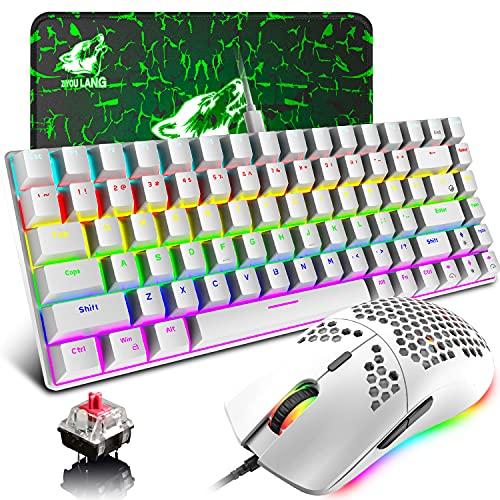 Teclado y ratón compacto para juegos, cable typeC 84 teclas, teclado mecánico con interruptor rojo + RGB12000DPI Ultra-ligero programable Honeycomb Shell Gaming Mouse (blanco)