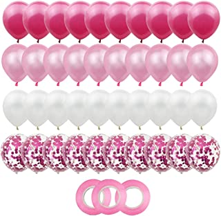 40PCS Latex Balloons Confetti Balloons Pink Rose and White Balloons 12 Inches Helium Balloons Party Supplies for Wedding Birthday Girl Baby Shower Party Decoration with 3 Roll Ribbons