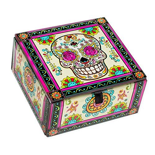 World Buyers Skull Decoratiove Glass Box (4x4x2.25 H, Rosy Sugar...