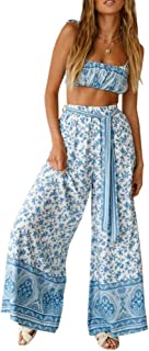 Bluesarey Women's Sexy 2 Pieces Outfits Floral Tie Tube Crop Top and Wide Leg Long Pants Jumpsuits Set