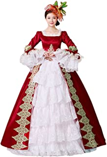 ROLECOS Womens Royal Vintage Medieval Dresses Lady Satin Gothic Victorian Dress Fancy Masquerade Dress