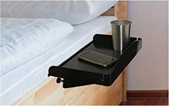 Bedside Shelf for Bed – College Dorm Room Clip On Nightstand with Cup Holder & Cord Holder - Nightstand for Students – Bunk Bed Shelf for Top Bunk – Kids Nightstand for Bedroom (Plastic, Black)