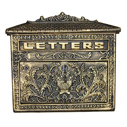 LSG Buzón Antiguo de Hierro Colado para Cartas y Correo Postal de Color Óxido Caballo - 33x10x33CM